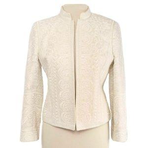 Ellen Tracy Beige Linen Embroidered Open Blazer